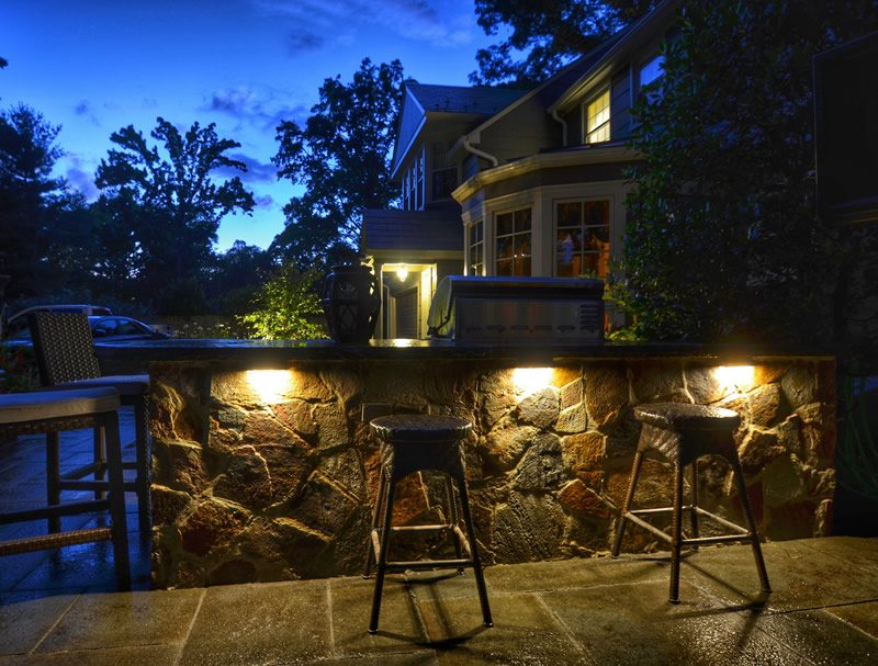 Landscape Lighting on Outdoor Bar with Stone Veneer
